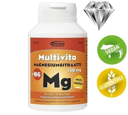Multivita Magnesiumsitraatti 150 mg + B6 90 purutabl. *