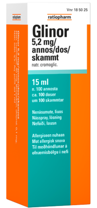 GLINOR 5,2 mg/annos allergianenäsumute 15 ml (100 annosta)
