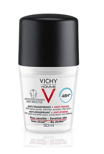 Vichy Homme 48H antiperspirantti Anti-Stains roll-on 50 ml
